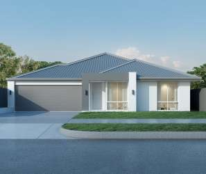 Modern house with garage on tree background, Australian style. 3D render.